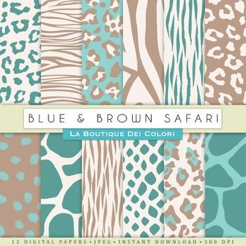 Blue and Brown Animal Prints Digital Paper, scrapbook backgrounds.