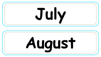 Blue and Brown Calendar Numbers, Months and Days