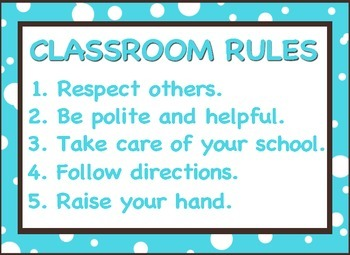 Blue and Brown Classroom Rules