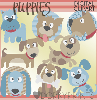 Blue and Brown Puppy Clipart