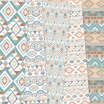Blue and Brown aztec Digital Paper arrows tribal patterns scrapbook background