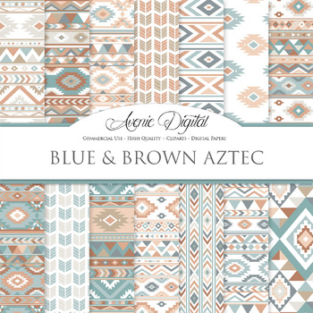 Blue and Brown aztec Digital Paper arrows tribal patterns