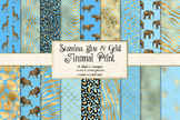 Blue and Gold Animal Skins Digital Paper