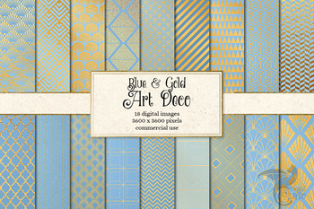 Blue and Gold Art Deco Digital Paper Backgrounds, Great Gatsby patterns