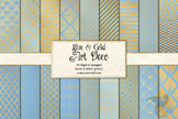 Blue and Gold Art Deco Digital Paper Backgrounds, Great Ga