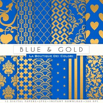 Blue and Gold Digital Paper, scrapbook backgrounds.
