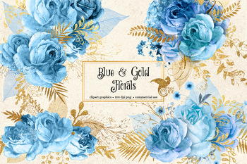 Blue and Gold Floral Clipart, watercolor glitter bouquets png graphics