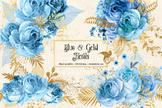 Blue and Gold Floral Clipart, watercolor glitter bouquets