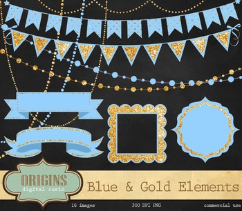 Blue and Gold Glitter Party Clipart