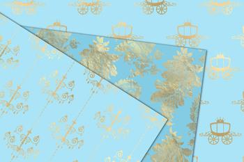 Blue and Gold Princess Digital Paper