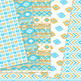 Blue and Gold aztec Digital Paper, Boho seamless patterns backgrounds