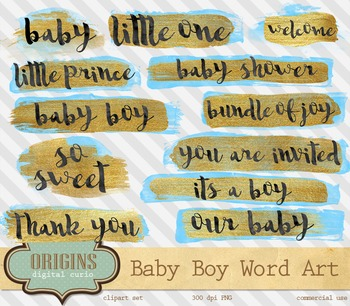 Blue and Gold baby shower word art overlays, baby boy clipart typography
