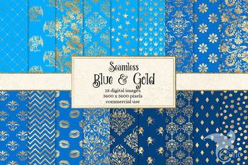 Blue and Gold digital paper, seamless gold foil patterns