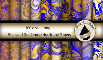 Blue and Goldenrod Hurricane Papers Clipart