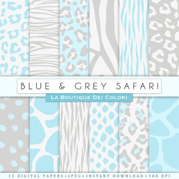 Blue and Gray Animal Prints Digital Paper, scrapbook backgrounds.