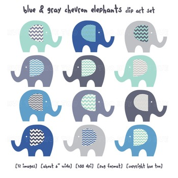 Blue and Gray Chevron Elephant Clip Art, Elephant Images for TpT Sellers