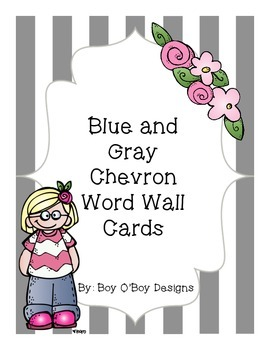 Blue and Gray Chevron Word Wall Headers