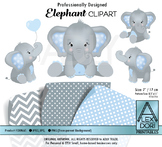 Blue and Gray Elephant Clipart