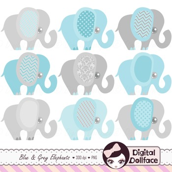 Blue and Gray Elephant Clipart Set