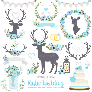 Blue and Gray Rustic Wedding Clipart - Deer and Flower Wreaths Graphics
