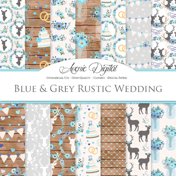 Blue and Gray Rustic Wedding Digital Paper - Wedding Seamless Patterns