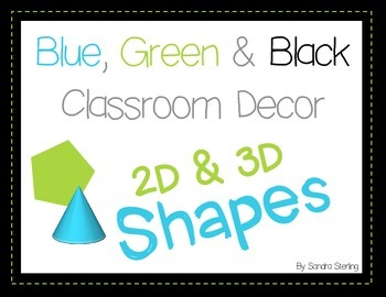 Blue and Green 2D & 3D Shapes