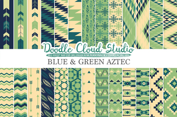 Blue and Green Aztec digital paper, Blue Green Cream Tribal patterns.