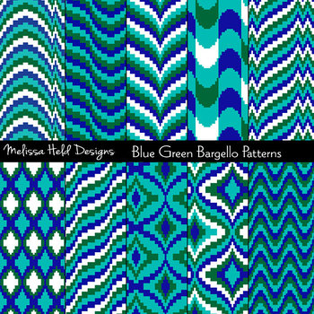 Blue and Green Bargello Patterns