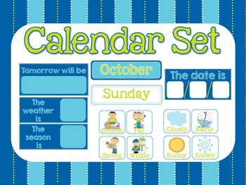Blue and Green Calendar Set