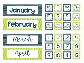 Blue and Green Calendar Set
