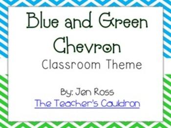Blue and Green Chevron Classroom