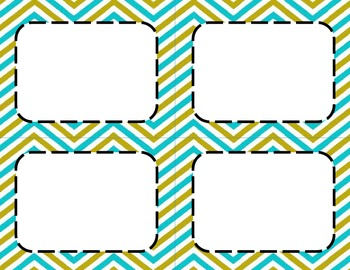Blue and Green Chevron Classroom Tags and Labels