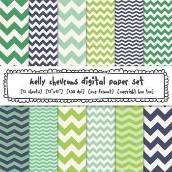 Blue and Green Chevron Digital Paper, Classroom Decor Backgrounds