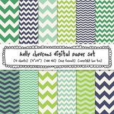 Blue and Green Chevron Digital Paper, Classroom Decor Backgrounds
