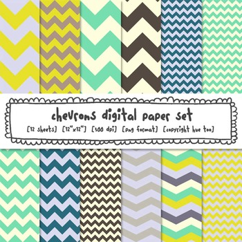 Blue, Yellow and Turquoise Chevron Digital Paper, Classroom Decor Backgrounds
