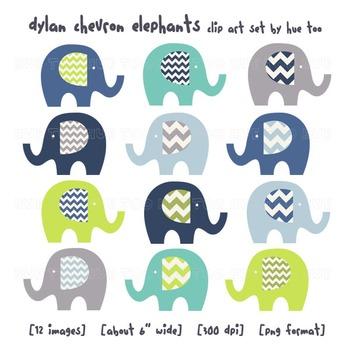Blue and Green Chevron Elephant Clip Art, Elephant Images for TpT Sellers