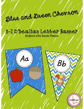 Blue and Green Chevron Letter Banner (Great for Ocean Theme)