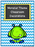 Editable Blue and Green Chevron Monster Decorations