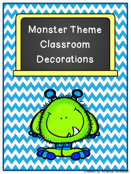 Blue and Green Chevron Monster Decorations