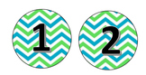 Blue and Green Chevron Number Templates