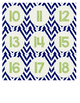 Blue and Green Chevron Numbers