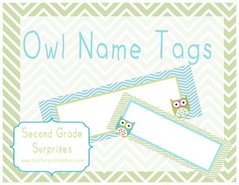Blue and Green Chevron Owl Desk Name Tags