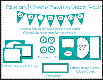Blue and Green Chevron Printable Decor Pack