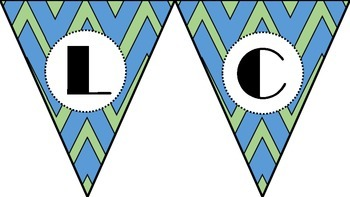 Blue and Green Chevron Welcome Back to School Banner