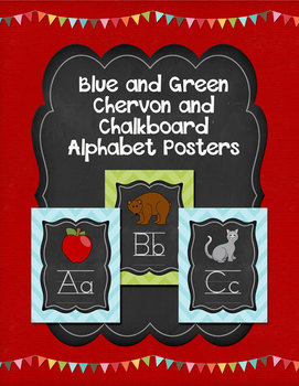 Blue and Green Chevron and Chalkboard Alphabet Posters
