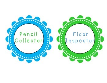 Blue and Green Classroom Helpers Chart