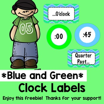 Blue and Green Clock Labels