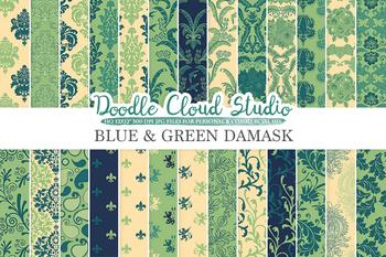 Blue and Green Damask digital paper, Swirls patterns, Digital Floral Damask