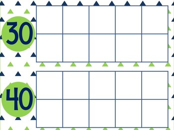 Blue and Green Days of School Ten Frames: Calendar Math Supplement