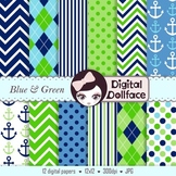 Digital Paper - Blue and Green
